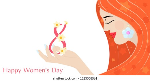 Cute card, banner, poster for the holiday of women's day on March 8, vector illustration of a portrait of a beautiful redheaded girl. Happy Mother's Day. Background. Wallpaper. EPS10 vector.