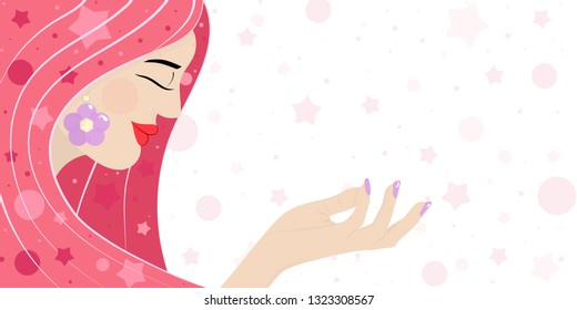Cute card, banner, poster for the holiday of women's day on March 8, vector illustration of a portrait of a beautiful girl. Happy Mother's Day. Background. Wallpaper. EPS10 vector.