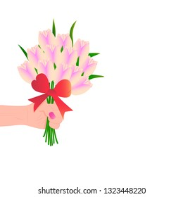 cute card, banner, poster for the holiday of women's day on March 8, vector illustration, female hand with bouquet of tulips. Happy Mother's Day. Background. Wallpaper. EPS10 vector.