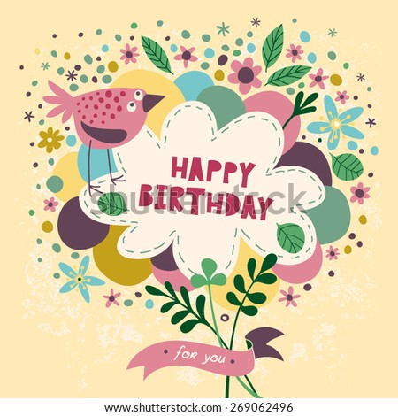 Cute Card With Bird Balloons And Flowers Happy Birthday Design Vector Illustration