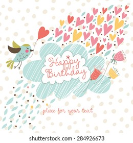 Cute card to the birthday. Vector graphics with a birds, flowers, clouds and hearts.