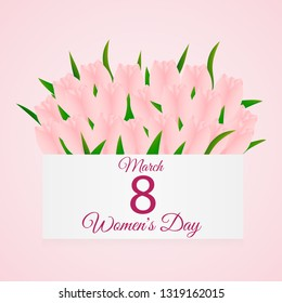 cute card with a bouquet of tulips, banner,  poster for the holiday of women's day on March 8, vector illustration. Happy Mother's Day. Background. Wallpaper. EPS10 vector