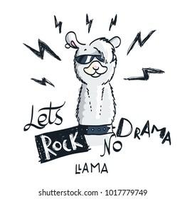 Cute card with cartoon llama. Motivational and inspirational quote. Doodling illustration. Lets rock, no drama, llama