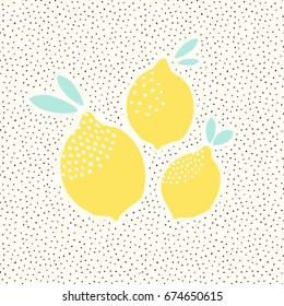 Cute card design with lemons in yellow on black and white dots pattern background. Fresh and modern wall art, t-shirt, packaging design.