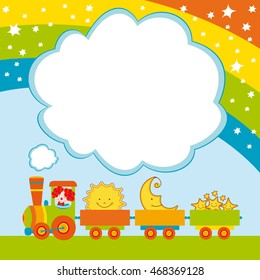 Cute card with a funny train. Clown, sun, moon, rainbow, stars. Background for a children's holiday. Vector illustration.