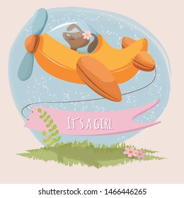 Cute card it´s a girl with little puppy on a plane. Vector illustration