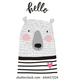 Cute card with hand drawn bear