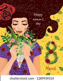 cute card for the holiday of women's day on March 8, vector illustration of a portrait of a beautiful girl with a bouquet of flowers