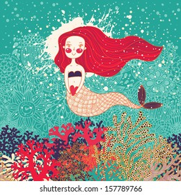 Cute card with mermaid in love. Underwater background with drops and corals
