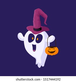 Cute card, poster - Halloween ghost in wizards hat with happy face, pumpkin lantern. Isolated colored vector illustration, funny and scary creepy character, cartoon magiс creature