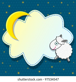 Cute Card with Sheep Cloud and Moon on Blue Background. Vector