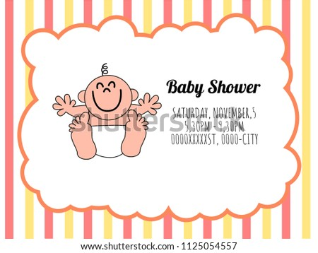 Cute Card Template Of A Baby Shower Invitation