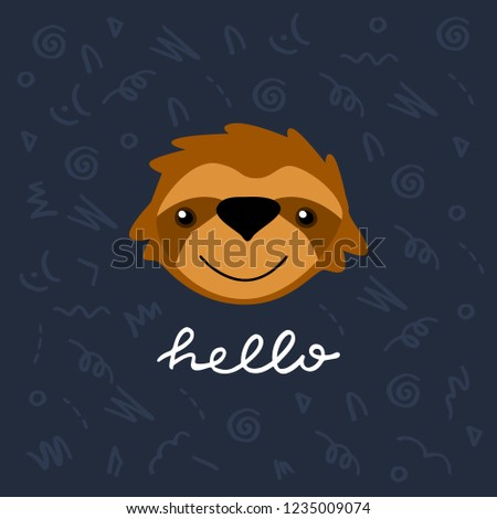 cute card template vector sloth character stock vector royalty free