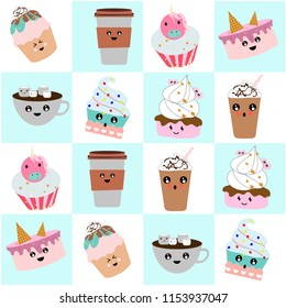 Cute card. Various cakes and coffee. Color background. Vector