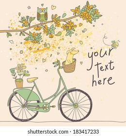Cute card in vector. Retro bicycle with cute dog under the branch with flowers and owl in pastel  colors