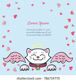 Cute card with white Cat, pink angel wings. Template for St. Valentine's Day/invitation/party/Mother day/birthday/baby birth/greetings card. Japanese Maneki Neko white cat isolated on background.