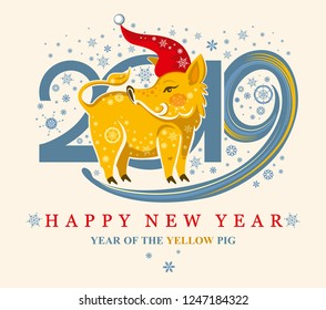 Cute card with a yellow Pig Boar in the Santa Cap and snowflakes. New Year's design. 2019