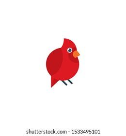Cute cardinal cartoon icon,vector on a white background