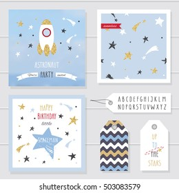 Cute cards and badges with gold confetti glitter for kids. For baby shower, birthday, space party invitation. Astronaut little boys design. Hand written narrow kiddy font included.