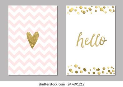 Cute cards with gold Confetti glitter