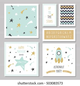 Cute cards with gold confetti glitter for kids. Can be used for baby shower, birthday, party invitation. Space astronaut little boys design. Hand written narrow kiddy font. With two seamless patterns.