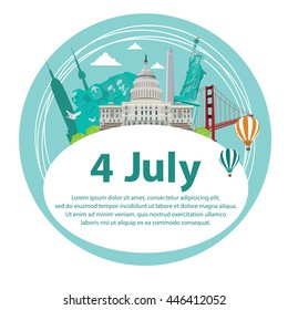 Cute Cards of july independence day of the usa on white background.