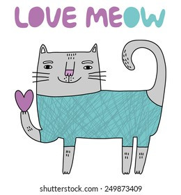 cute cards love meow