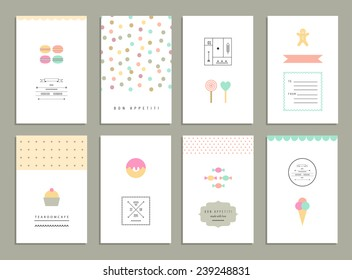 Cute cards with sweets.