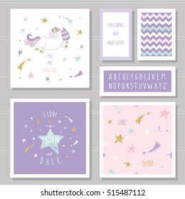 Cute cards with unicorn and gold glitter stars. For birthday invitation, baby shower, Valentine's day. I love you to the moon and back. Hand written narrow font. With two seamless patterns.