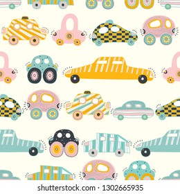 Cute cars. Children's vector seamless pattern. Can be used for wallpaper, textile, invitation card, wrapping, web page background.