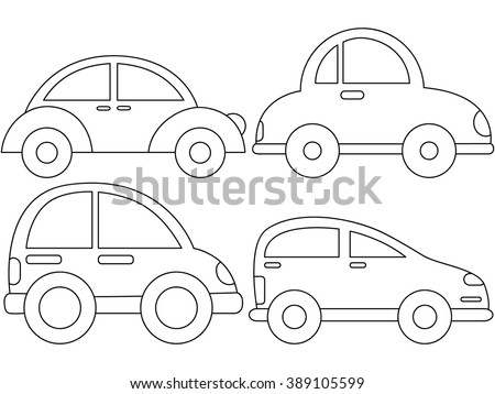 Cute Cars Coloring Page Illustration Black Outline