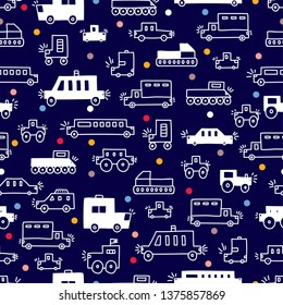 Cute cars greeting card. Kids automobile. Can be used for wallpaper, textile, invitation card, wrapping, web page background.