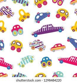 Cute cars. Kids vector seamless pattern.