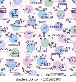 Cute cars and polka dots. Children's vector coloring seamless pattern. Can be used for wallpaper, textile, invitation card, wrapping, web page background.
