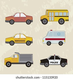 cute cars set, vintage style. vector illustration