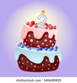 Cute Cartoon 2 Year Birthday Festive Cake With Candle Number Two Chocolate Biscuit Berries