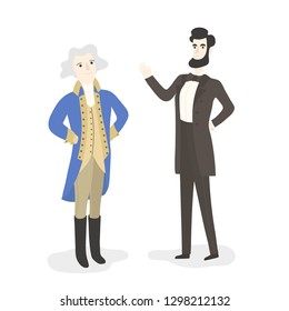 Cute Cartoon Abraham Lincoln and George Washington, President's Day