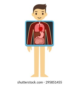 Cute cartoon adult man with x-ray screen showing his internal organs. Element of health infographics.
