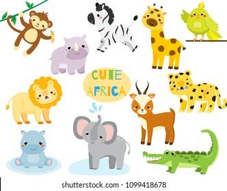 Cute cartoon african animals set. Monkey, rhino, zebra and other savannah wildlife for kids and children