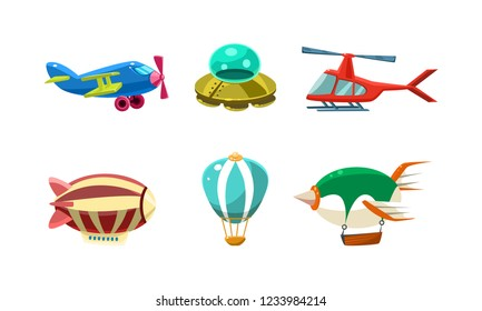 Cute cartoon aircrafts bright colors set, airplane, blimp, ufo, helicopter, hot air balloon vector Illustration on a white background