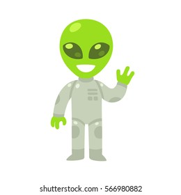 Cute cartoon alien drawing. Little green waving humanoid in spacesuit, isolated vector illustration.