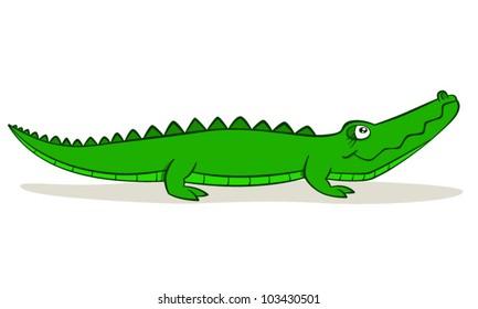 Cute cartoon alligator on isolated white background, vector illustration