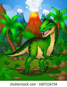Cute cartoon allosaurus. Isolated illustration of a cartoon dinosaur.