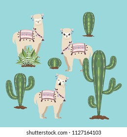 Cute cartoon Alpaca with cactuses design background.