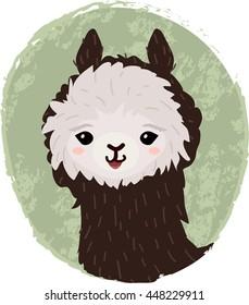 Cute cartoon alpaca head
