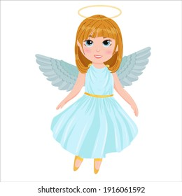 Cute cartoon angel girl in a blue dress. Wings and halo. child dancing ballet dressed as an angel. Vector illustration isolated on white background.