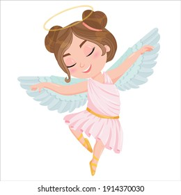 Cute cartoon angel girl in a pink dress. Wings and halo. child dancing ballet dressed as an angel. Vector illustration isolated on white background.