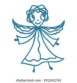 Cute cartoon angel. Vector illustration