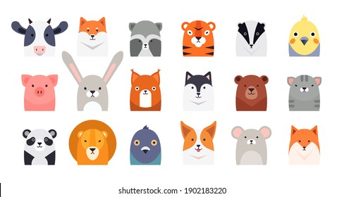 Cute cartoon animal, bird head flat style vector illustrations. Vector clipart collection of cute animals characters. Pets, farm, zoo design set for baby clothes, card and invitation templates.