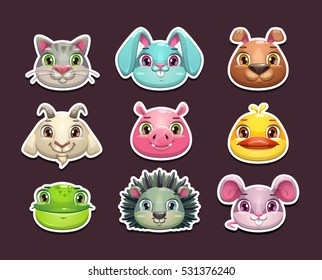 Cute cartoon animal face icons set. Isolated stickers on dark background. Vector assets for game design.